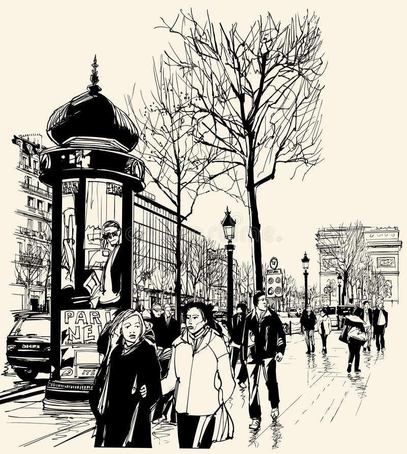 Paris - DES Champs-Elysees da avenida ilustração stock
