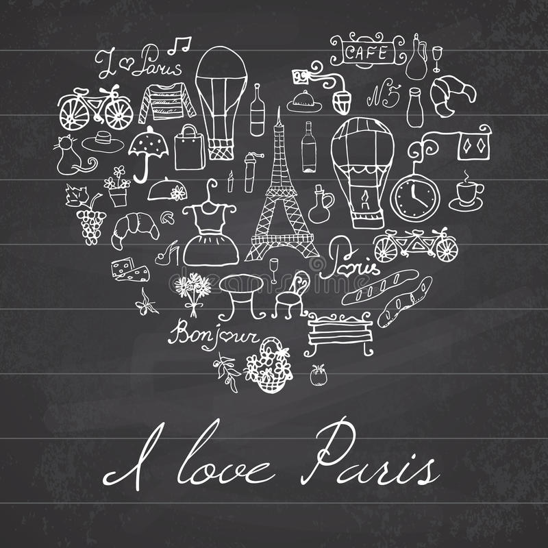 Paris doodles elements. Hand drawn set withefel tower bred cafe flowers and bicycle. Drawing doodle collection, in heart shape, on vector illustration