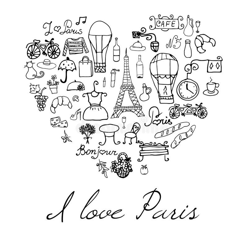 Paris doodles elements. Hand drawn set withefel tower bred cafe flowers and bicycle. Drawing doodle collection, in heart shape, is royalty free illustration