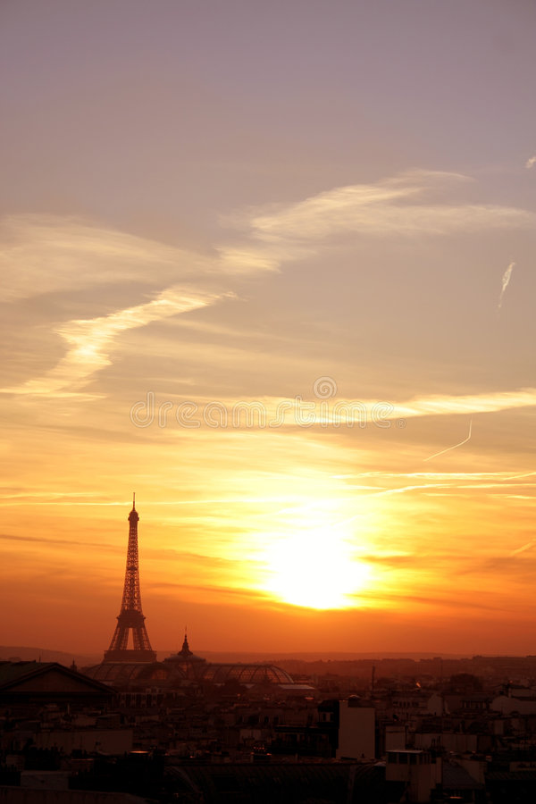Paris Effel Neighborhood At Sunset Royalty Free Stock Photos