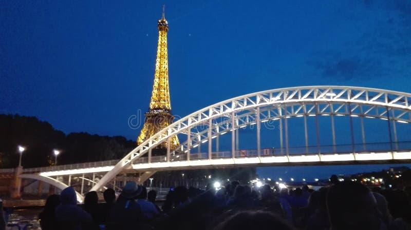 Paris eiffel tower + bridge royalty free stock image