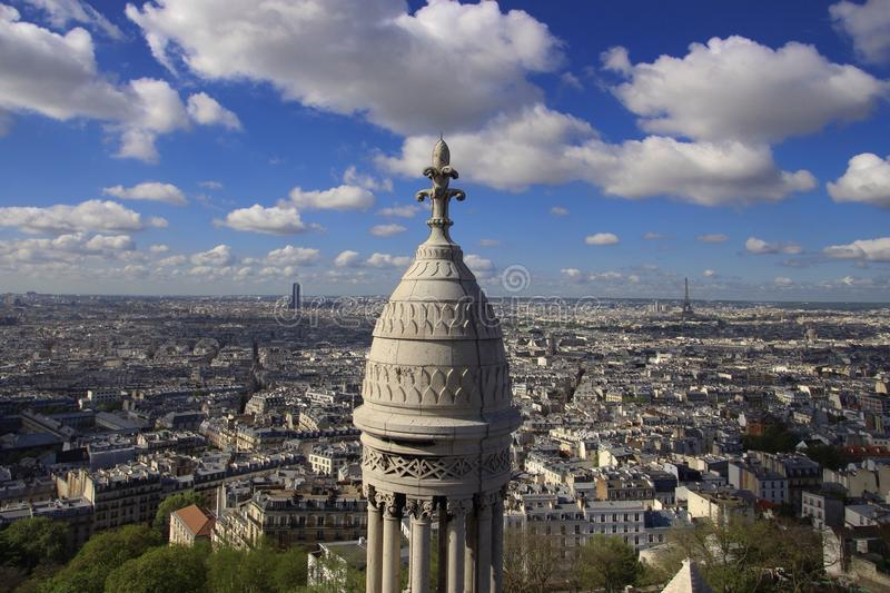 Paris and Eiffel Tower from far stock image