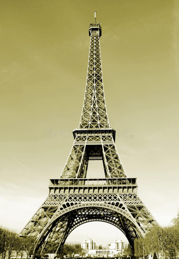 Paris Eiffel Tower in France Sepia Tone royalty free stock images