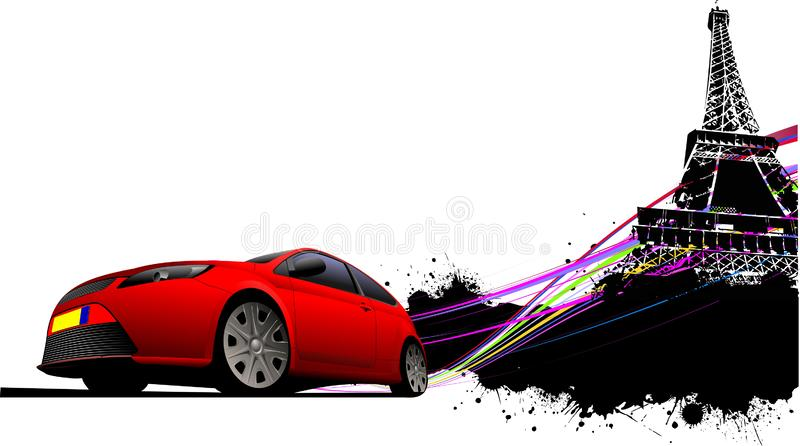 Paris on the Eiffel tower ,. Paris on the Eiffel tower grunge background with red car coupe image. Vector illustration royalty free illustration