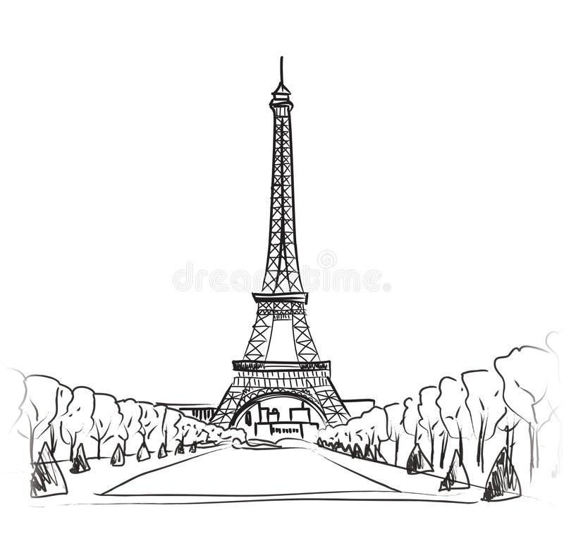 Paris Eiffel Tower Illustration Set. Love Paris Frame Vintage ...