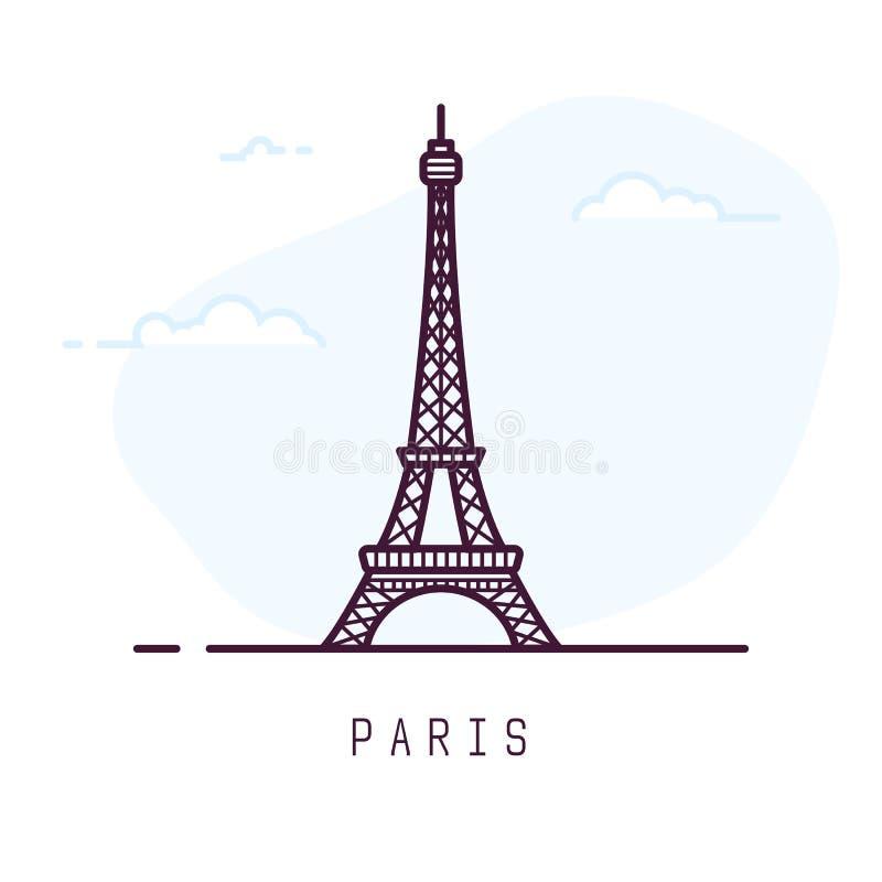 Paris Eiffel tower line style. Paris city line style illustration. Famous Eiffel tower in Paris, France. Architecture city symbol of France. Outline building vector illustration