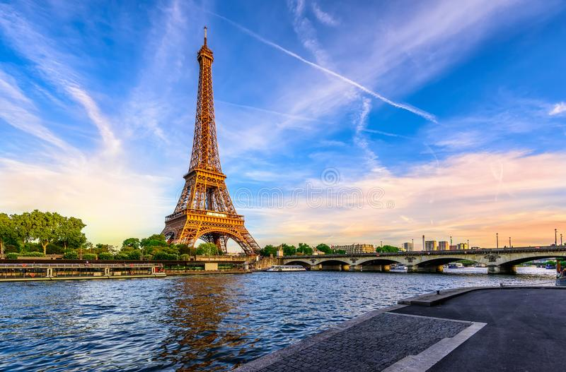 Paris Eiffel Tower and river Seine at sunset in Paris, France stock images