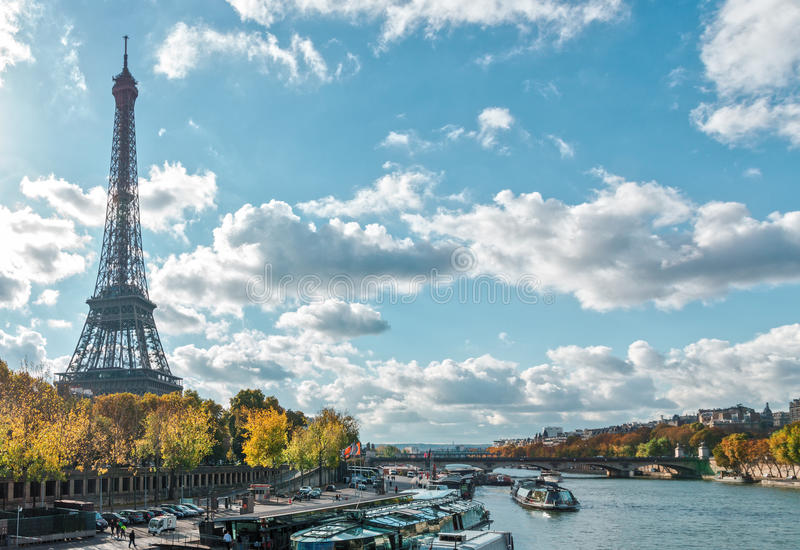 Paris, the Eiffel Tower and the Seine River in the fall stock photos