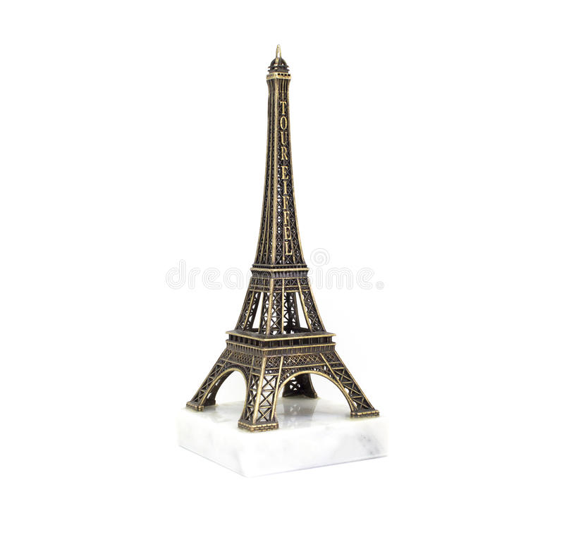 Paris Eiffel tower souvenir on the marble stand isolated on white background stock photo