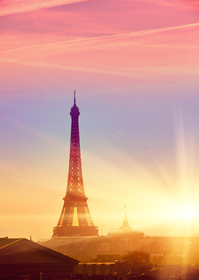 Paris. Eiffel Tower during a sunset.  stock images
