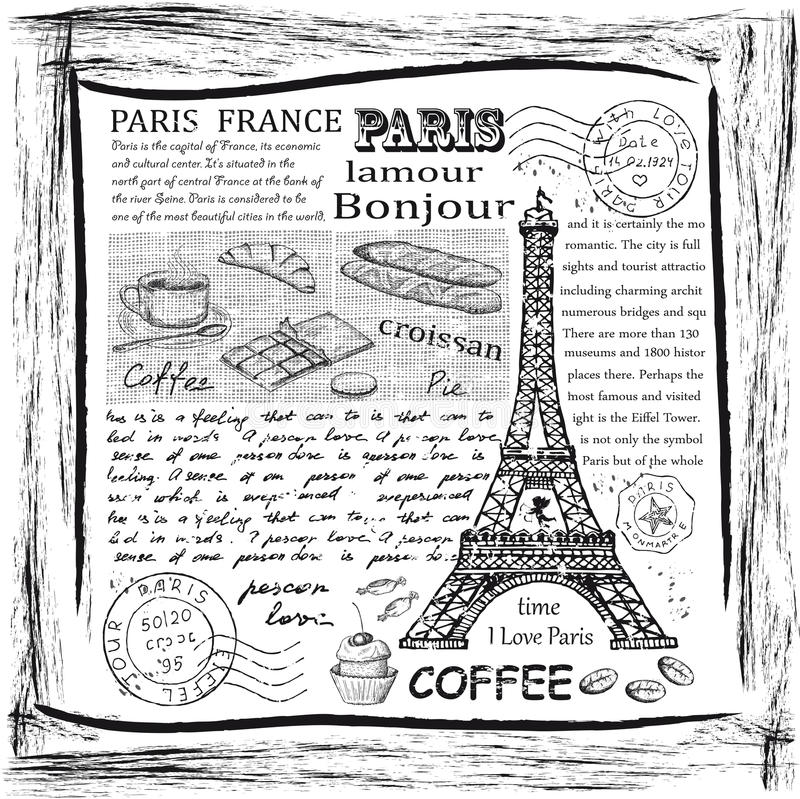 Paris Eiffeltorn royaltyfri illustrationer