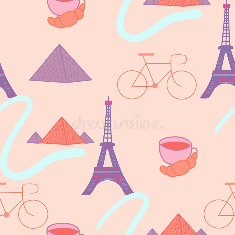 Paris elements in a seamless pattern design royalty free illustration