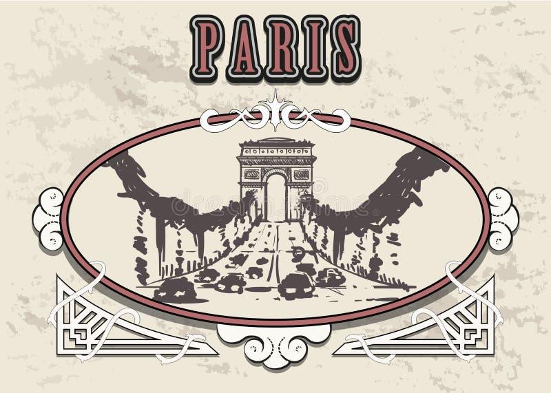 Paris, esboço tirado mão de Champs-Elysees Paris no quadro ilustração do vetor
