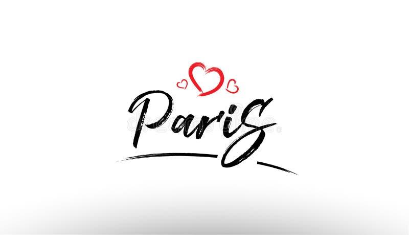 paris Europe miasta imienia europejskiej miłości turystyki loga ikony kierowy des ilustracja wektor