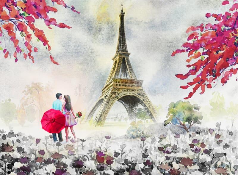 Paris european city landscape. France, eiffel tower and couple l stock illustration