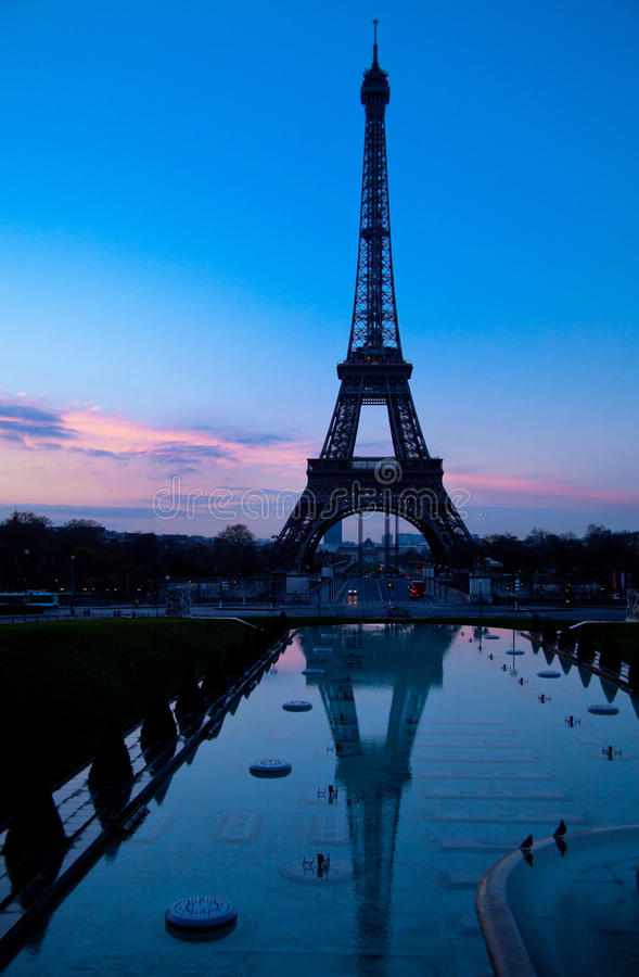 Paris evening with Eiffel tower royalty free stock images