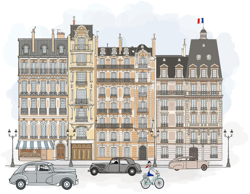 Paris - façades illustration libre de droits