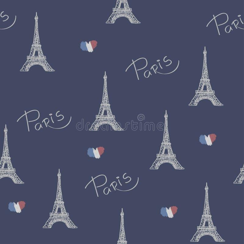Paris favorita Vector a ilustração com a imagem da torre Eiffel Teste padrão sem emenda ilustração royalty free