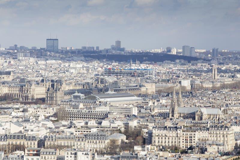 Paris från turnera Eiffel Notre Dame arkivfoto