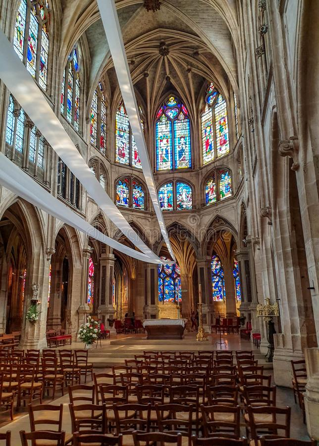 Paris, França, em junho de 2019: Igreja de Saint-Severin fotografia de stock royalty free