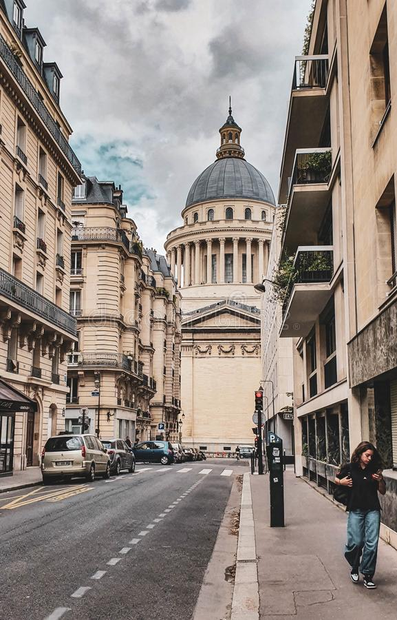 Paris, França, em junho de 2019: Panteão no quarto latino imagem de stock