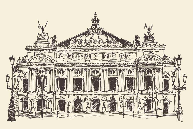 Paris, França, vintage do Palais Garnier (teatro da ópera de Paris) gravou a ilustração ilustração royalty free