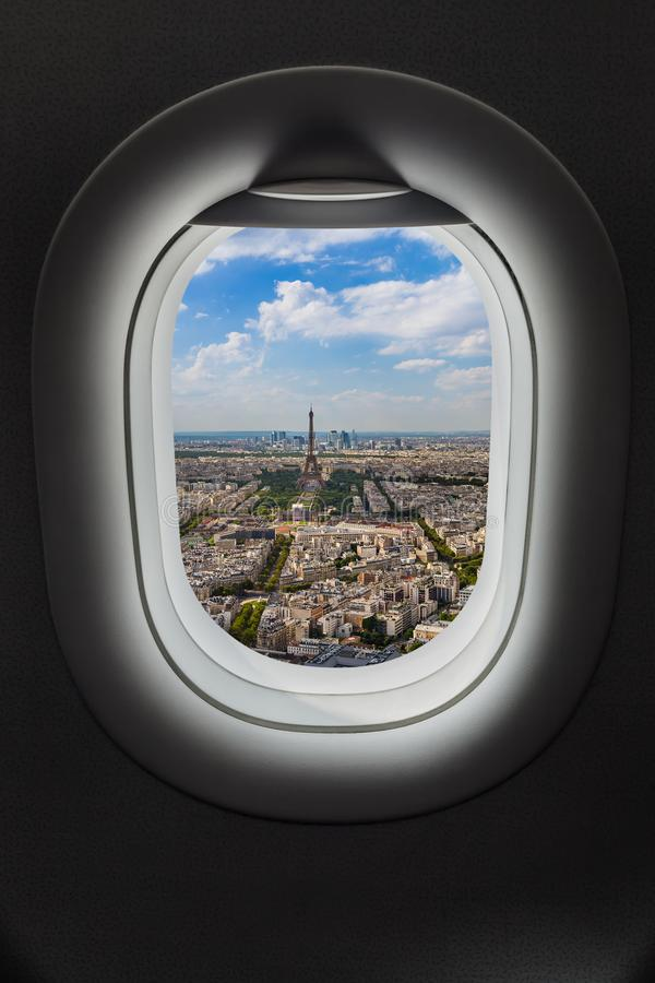 Paris France in airplane window royalty free stock images