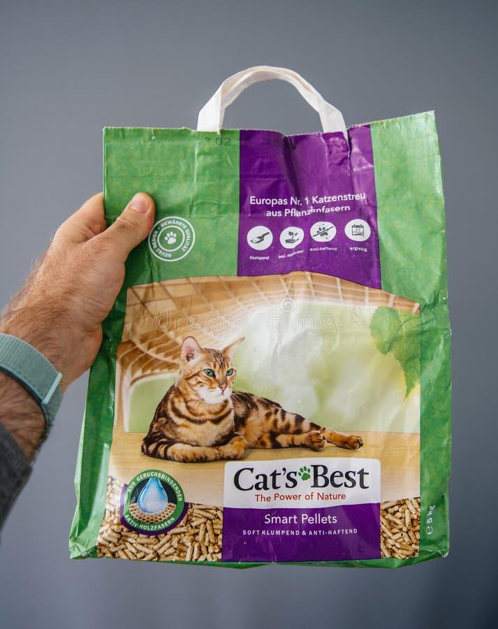 Cat`s Best Smart Pellets shopping package stock photo