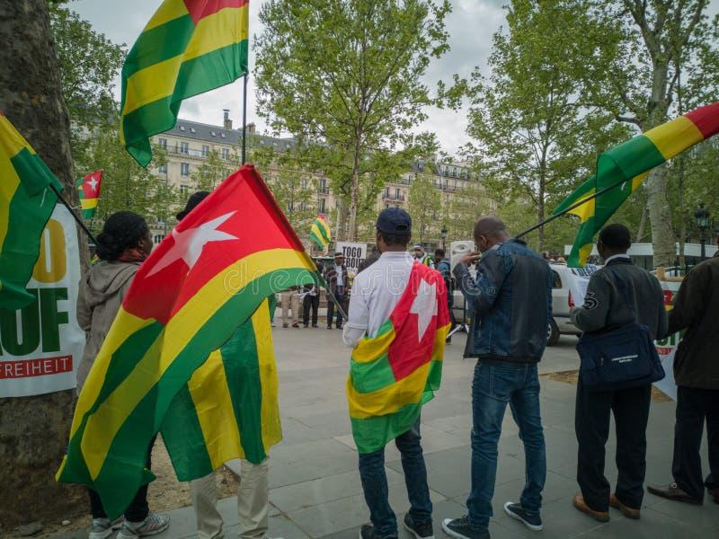 A big demonstration of the Togolese diaspora took place in Paris stock photos