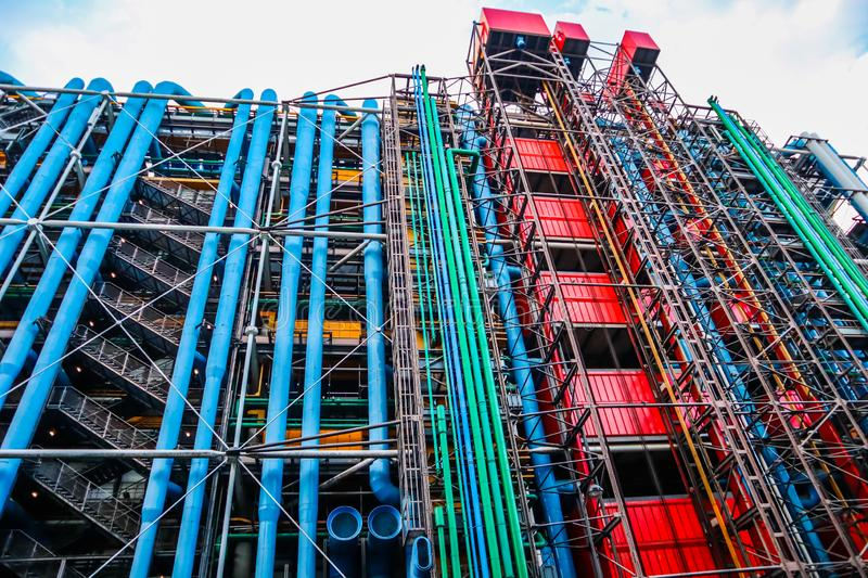 Paris / France - April 06 2019: Colorful facade of the Center of Georges Pompidou royalty free stock photography