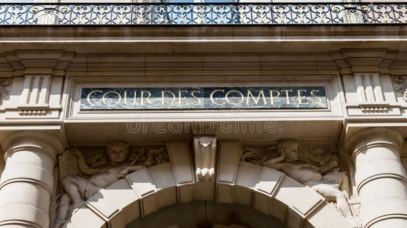 Court of Audit in Paris. Paris, France - April 14, 2019: Court of Audit Cour des comptes at Rue Cambon in Paris. It is a French administrative court charged with stock photos