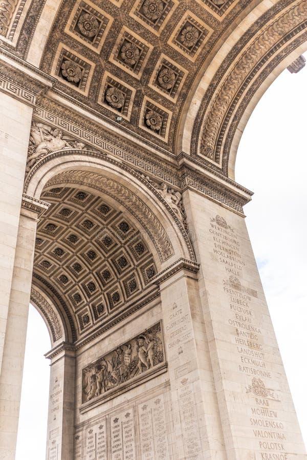 Paris, France - APRIL 9, 2019: Detais of the Arc de Triomphe on a cloudy day, Paris. France stock images