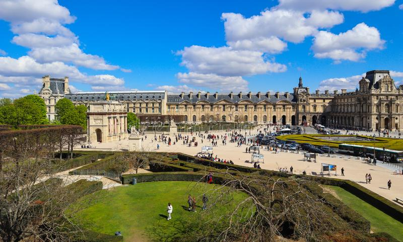 The square in front of Louvre museum Paris France. April 2019.  royalty free stock photography