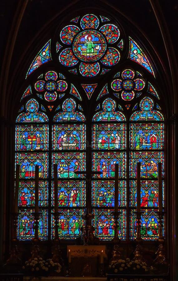 PARIS, FRANCE - APRIL 25: Stained glass window in Cathedral Notre Dame de Paris on april 25, 2011 in Paris. stock photo