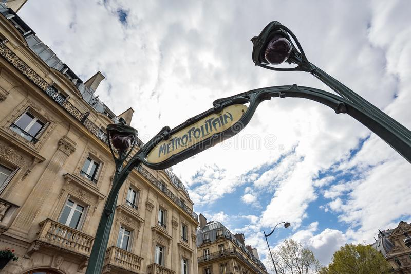 Paris France April 29th 2013 : Close-up view of a vintage style Metro sign in the Latin Quarter, Paris, France stock image