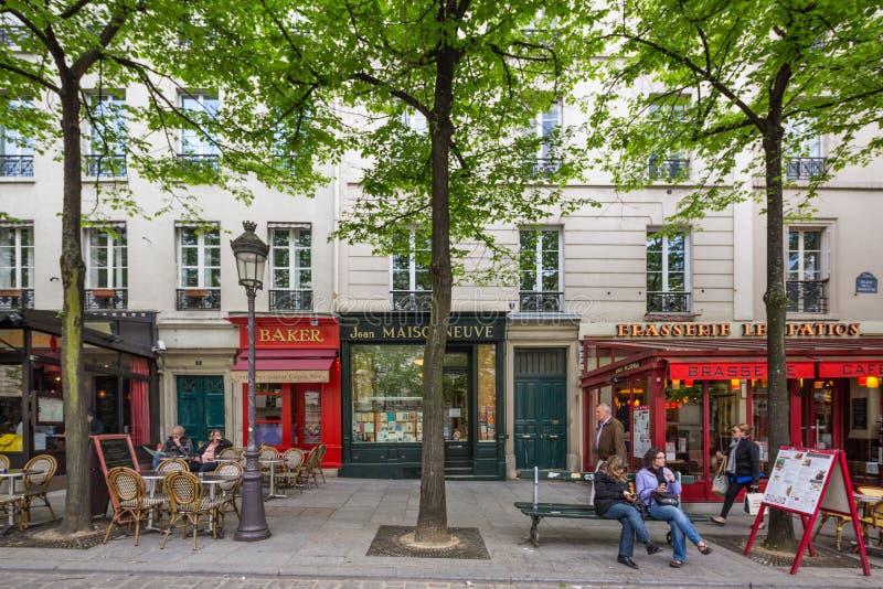 Paris France April 29th 2013 Street scene in the Latin Quarter o stock photos