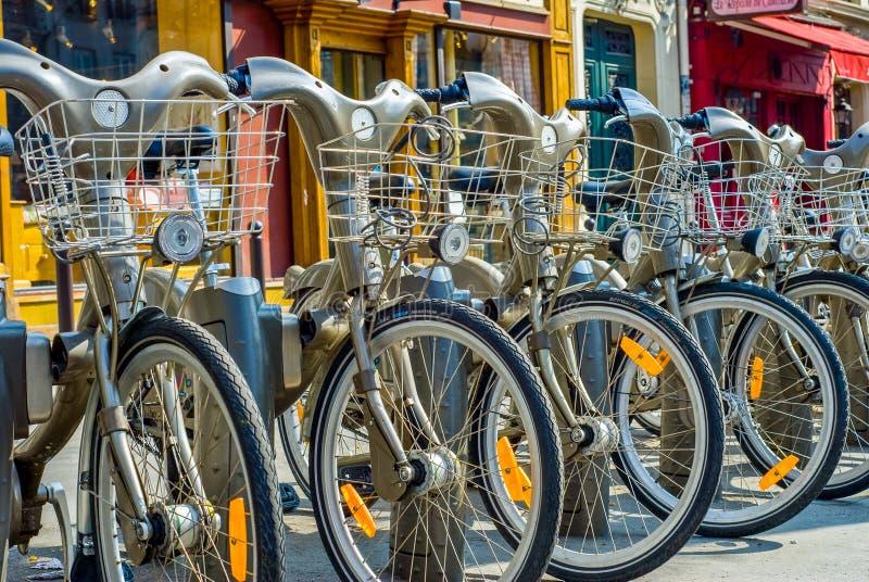 Paris, France - April 02, 2009: Velib station public bicycle rental in Paris. Velib has the highest market penetration comapring stock photos