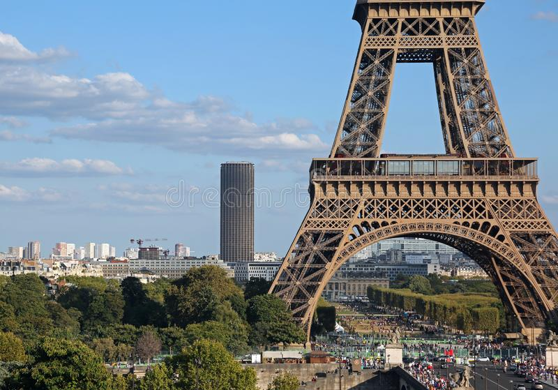 Paris, France - August 17, 2018: Eiffel Tower and the Montparnasse tour in background royalty free stock photography
