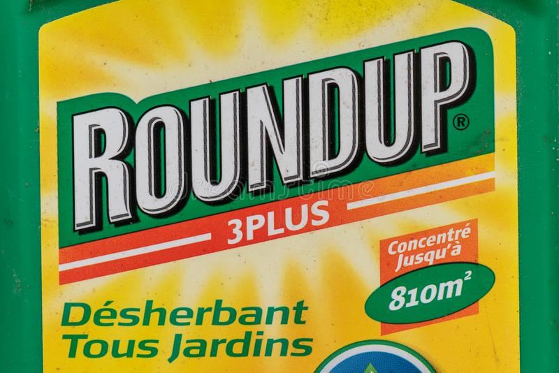 Paris, France - August 15, 2018 : Herbicide in a french garden. Roundup is a brand-name of an herbicide containing glyphosate, mad. E by Monsanto Company stock photos