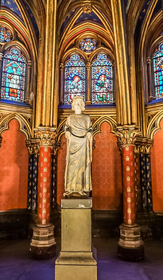 Paris, France - August 3,2019:  Interior view of the Sainte-Chapelle. Paris, France - August 3,2019:  Interior view of the first floor of the Sainte-Chapelle, a stock image