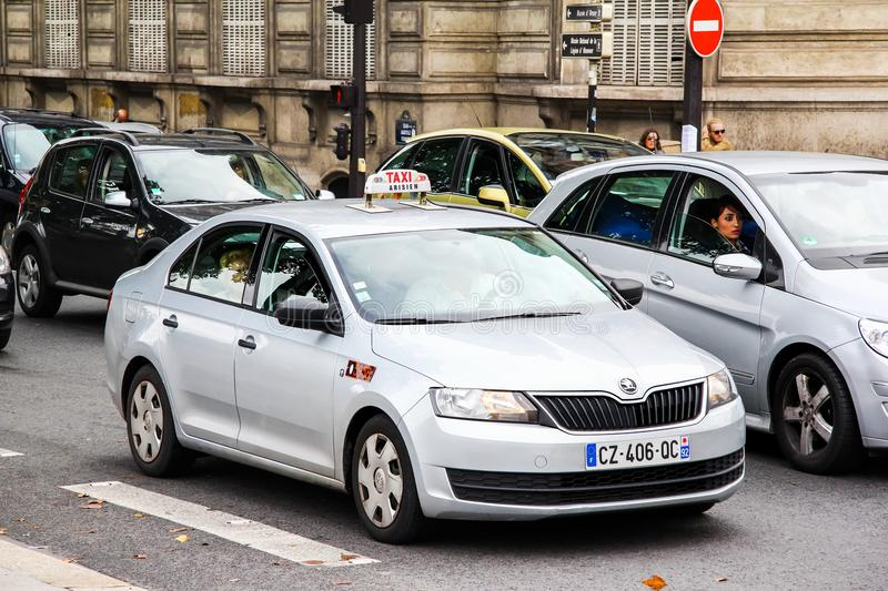 Skoda Rapid. Paris, France - August 8, 2014: Taxi car Skoda Rapid in the city street stock images