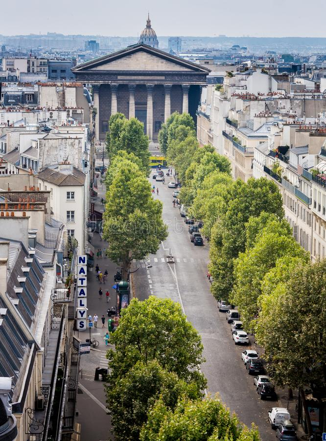 PARIS, FRANCE, on AUGUST 13- The top view from a survey platform to the city street in Paris during summer on Aug 13, 2015 royalty free stock image
