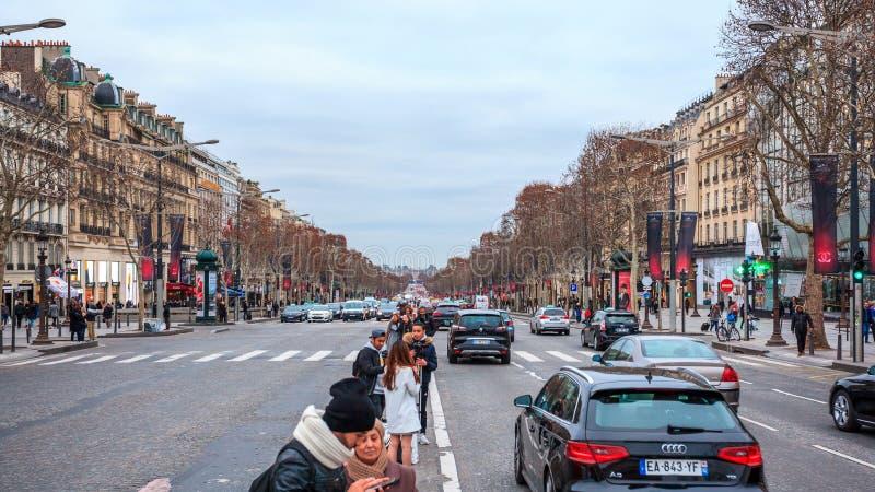 Paris, France - 15.01.2019: Avenue des Champs Elysees. Streets of Paris, France. buildings and traffic. Avenue des Champs Elysees. Streets of Paris, France stock photography