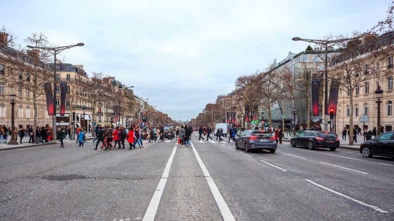 Paris, France - 15.01.2019: Avenue des Champs Elysees. Streets of Paris, France. buildings and traffic. Avenue des Champs Elysees. Streets of Paris, France royalty free stock images