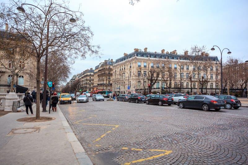Paris, France - 15.01.2019: Avenue des Champs Elysees. Streets of Paris, France. buildings and traffic. Avenue des Champs Elysees. Streets of Paris, France royalty free stock photos