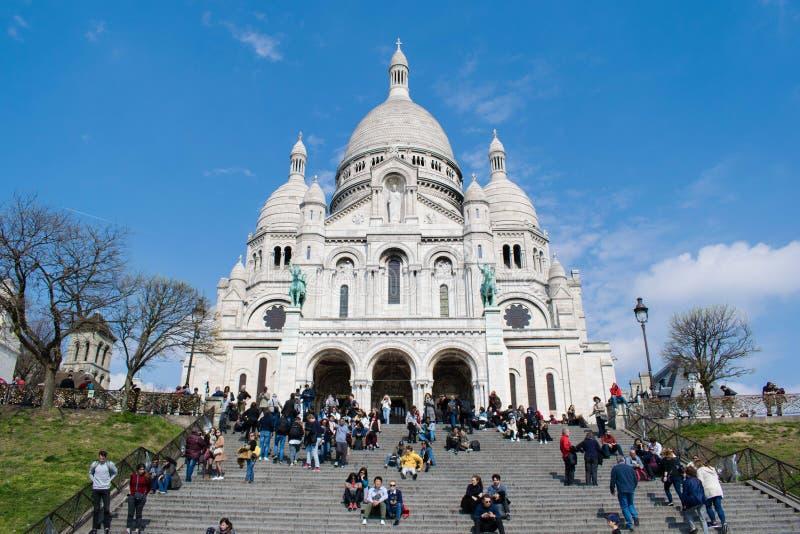 Paris, France - 2 avril 2019 : Basilique du coeur sacré ur de Paris de Sacré-CÅ «chez Montmartre image stock