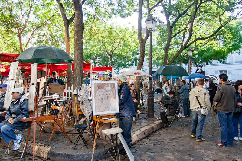 PARIS FRANCE, circa April 2016. Place du tertre in Montmartre. Close to the cathedral of the sacre coeur. The square du tertre is a meeting place of artists royalty free stock photography
