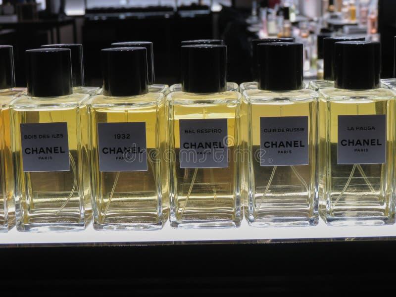 Chanel perfume jars of different styles. PARIS, FRANCE - CIRCA MARCH 2018: Chanel perfume jars of different styles 1932, Bel Respiro, Bois des Iles, La pausa on royalty free stock photos