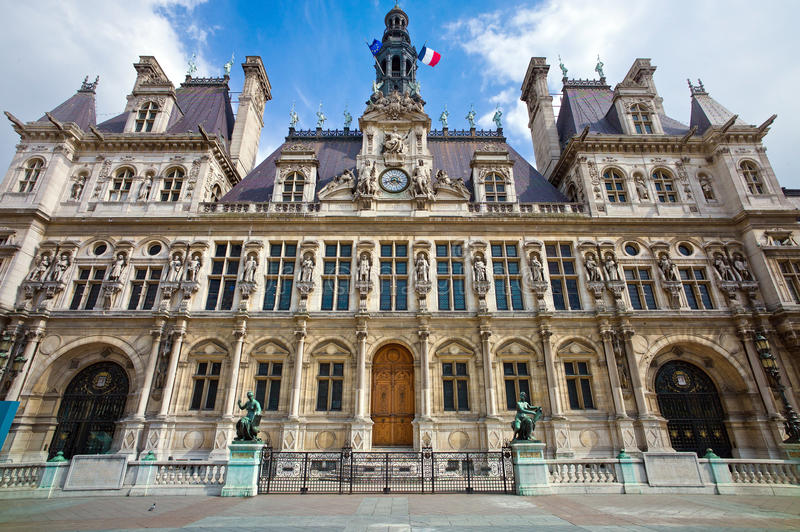 Paris, france. city hall hotel de ville royalty free stock photos