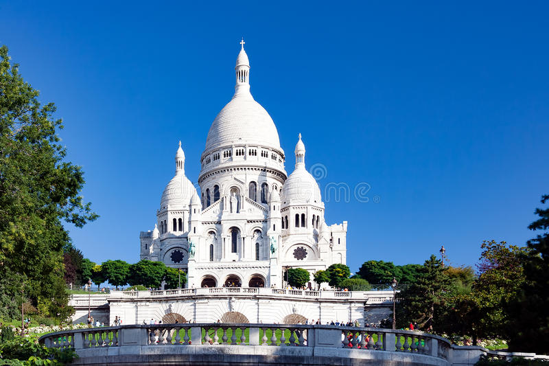 PARIS, FRANCE, crica april 2016. The Sacre coeur, view from View from Saint Pierre Square. In Montmartre royalty free stock images